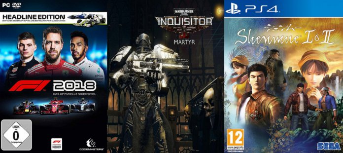 ©Codemasters ©Neocore Games ©SEGA F1 2018 Warhammer 40k Inquisitor - Martyr Shenmue Collection 1 2