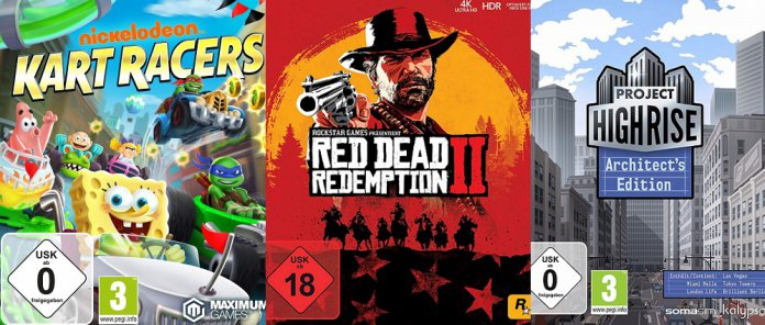 ©Rockstar Games ©Kalypso Games ©Maximum Games Red Dead Redemption 2 Project Highrise Nickelodeon Kart Racers games trailer time