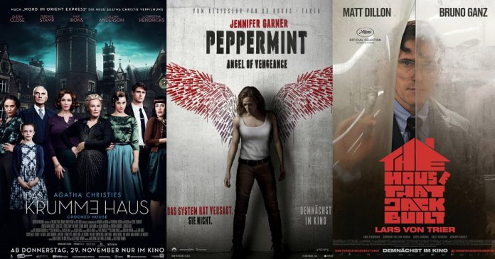©20th Century Fox ©Universum Film ©Concorde Filmverleih Das Krumme Haus Peppermint Angel of Vengeance The House That Jack Built Kino Trailer Time