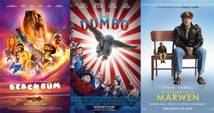 ©Constantin Film ©The Walt Disney Company ©Universal Pictures beach bum dumbo willkommen in marwen kino trailer time