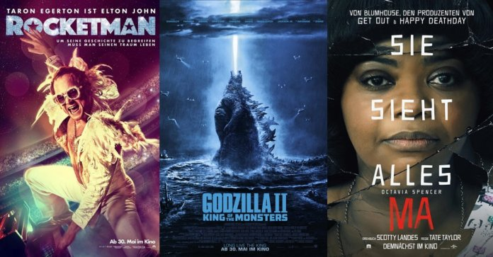 ©Paramount Pictures ©Warner Bros ©Universal Pictures , rocketman , godzilla 2 king of the monsters , ma , kino trailer time